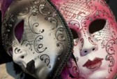 9485413-brown-and-pink-venetian-carnival-masks